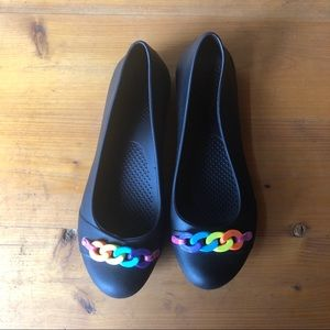 Crocs Black Rainbow Chain Link Ballet Flats Shoes